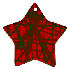 Red Pattern Star Ornament (two Sides)