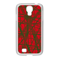 Red Pattern Samsung Galaxy S4 I9500/ I9505 Case (white) by Valentinaart