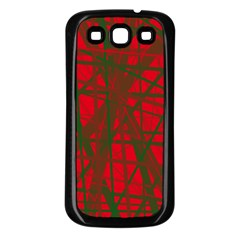 Red Pattern Samsung Galaxy S3 Back Case (black) by Valentinaart