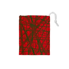Red Pattern Drawstring Pouches (small)  by Valentinaart