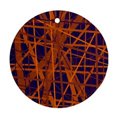 Blue And Orange Pattern Ornament (round)  by Valentinaart