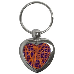 Blue And Orange Pattern Key Chains (heart)  by Valentinaart