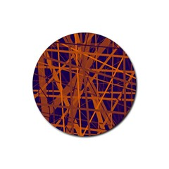 Blue And Orange Pattern Rubber Round Coaster (4 Pack)  by Valentinaart
