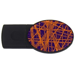 Blue And Orange Pattern Usb Flash Drive Oval (2 Gb)  by Valentinaart