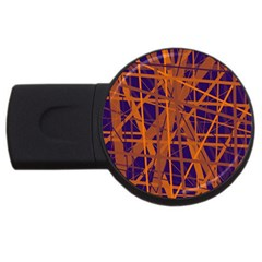Blue And Orange Pattern Usb Flash Drive Round (4 Gb)  by Valentinaart