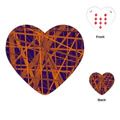 Blue And Orange Pattern Playing Cards (heart)  by Valentinaart