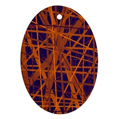 Blue And Orange Pattern Oval Ornament (two Sides) by Valentinaart