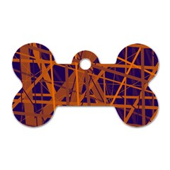 Blue And Orange Pattern Dog Tag Bone (one Side) by Valentinaart