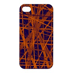 Blue And Orange Pattern Apple Iphone 4/4s Premium Hardshell Case by Valentinaart