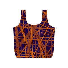 Blue And Orange Pattern Full Print Recycle Bags (s)  by Valentinaart