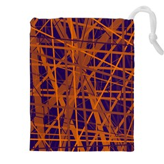 Blue And Orange Pattern Drawstring Pouches (xxl) by Valentinaart
