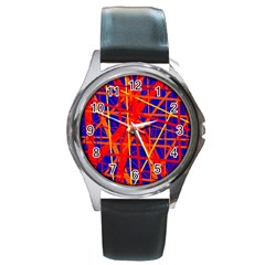 Orange And Blue Pattern Round Metal Watch by Valentinaart