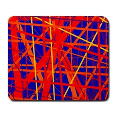 Orange And Blue Pattern Large Mousepads by Valentinaart