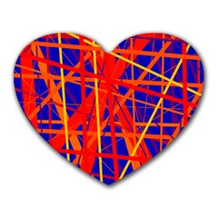 Orange And Blue Pattern Heart Mousepads by Valentinaart