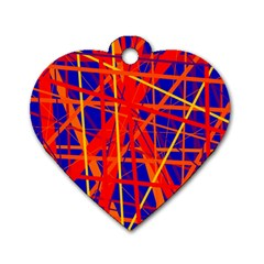 Orange And Blue Pattern Dog Tag Heart (two Sides)