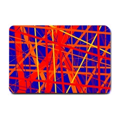 Orange And Blue Pattern Small Doormat  by Valentinaart