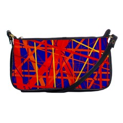 Orange And Blue Pattern Shoulder Clutch Bags by Valentinaart