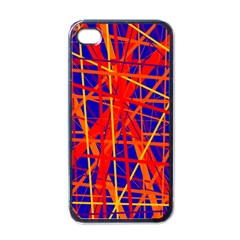 Orange And Blue Pattern Apple Iphone 4 Case (black) by Valentinaart