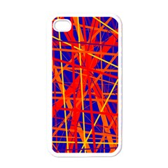 Orange And Blue Pattern Apple Iphone 4 Case (white) by Valentinaart