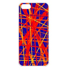 Orange And Blue Pattern Apple Iphone 5 Seamless Case (white)