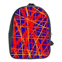 Orange And Blue Pattern School Bags (xl)  by Valentinaart