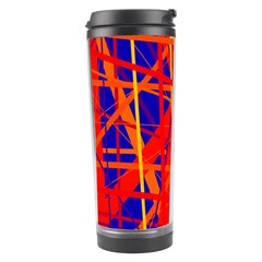 Orange And Blue Pattern Travel Tumbler by Valentinaart