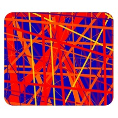 Orange And Blue Pattern Double Sided Flano Blanket (small)  by Valentinaart
