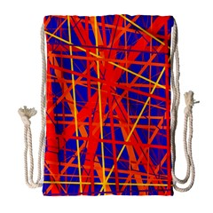Orange And Blue Pattern Drawstring Bag (large) by Valentinaart