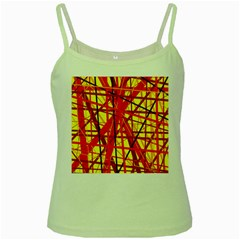 Yellow And Orange Pattern Green Spaghetti Tank by Valentinaart