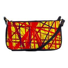 Yellow And Orange Pattern Shoulder Clutch Bags by Valentinaart