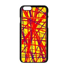 Yellow And Orange Pattern Apple Iphone 6/6s Black Enamel Case