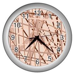 Brown Pattern Wall Clocks (silver)  by Valentinaart