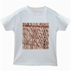 Brown Pattern Kids White T Shirts by Valentinaart