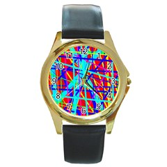 Colorful Pattern Round Gold Metal Watch by Valentinaart