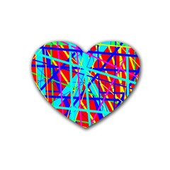 Colorful Pattern Rubber Coaster (heart)  by Valentinaart
