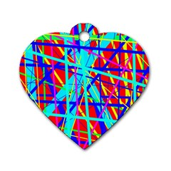 Colorful Pattern Dog Tag Heart (two Sides) by Valentinaart