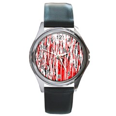 Red, Black And White Pattern Round Metal Watch by Valentinaart