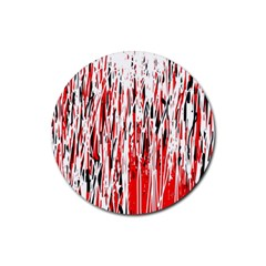 Red, Black And White Pattern Rubber Coaster (round)  by Valentinaart