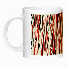 Red, Black And White Pattern Night Luminous Mugs by Valentinaart