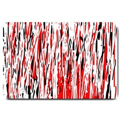 Red, Black And White Pattern Large Doormat  by Valentinaart