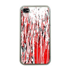 Red, Black And White Pattern Apple Iphone 4 Case (clear) by Valentinaart