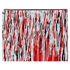 Red, Black And White Pattern Cosmetic Bag (xxxl)  by Valentinaart