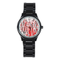 Red, Black And White Pattern Stainless Steel Round Watch by Valentinaart