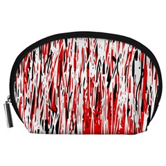 Red, Black And White Pattern Accessory Pouches (large)  by Valentinaart