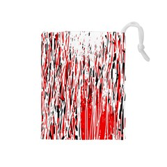 Red, Black And White Pattern Drawstring Pouches (medium)  by Valentinaart