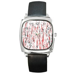 Red, Black And White Pattern Square Metal Watch by Valentinaart