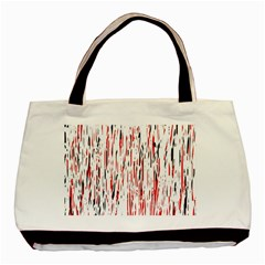 Red, Black And White Pattern Basic Tote Bag (two Sides) by Valentinaart