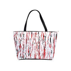 Red, Black And White Pattern Shoulder Handbags by Valentinaart