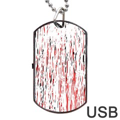 Red, Black And White Pattern Dog Tag Usb Flash (one Side) by Valentinaart