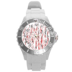 Red, Black And White Pattern Round Plastic Sport Watch (l) by Valentinaart